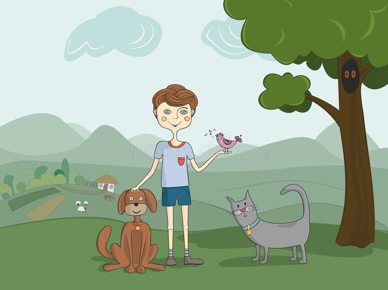 Download Boy with pets stock vector. Illustration of care, pets - 28839650