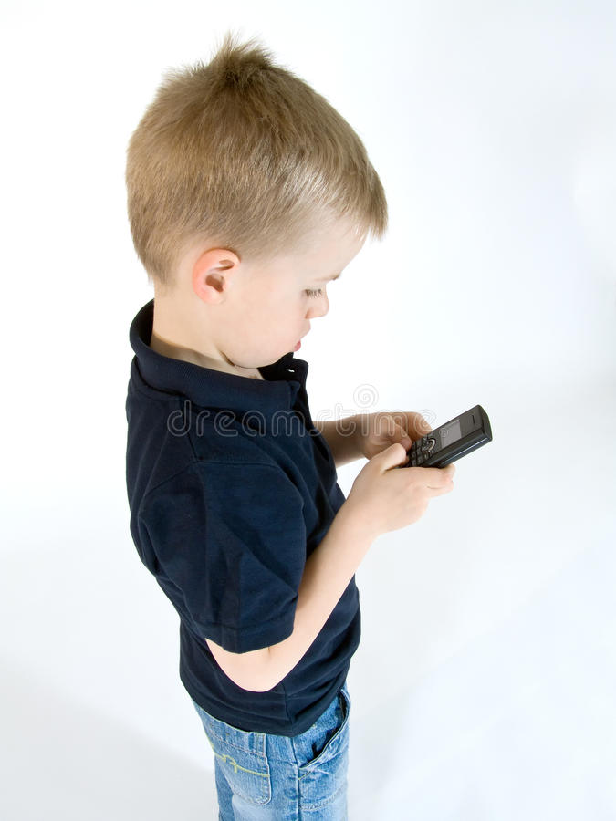 Boy with phone stock photos
