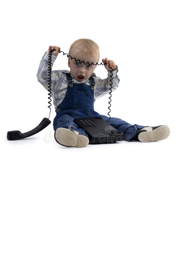Boy and phone stock image