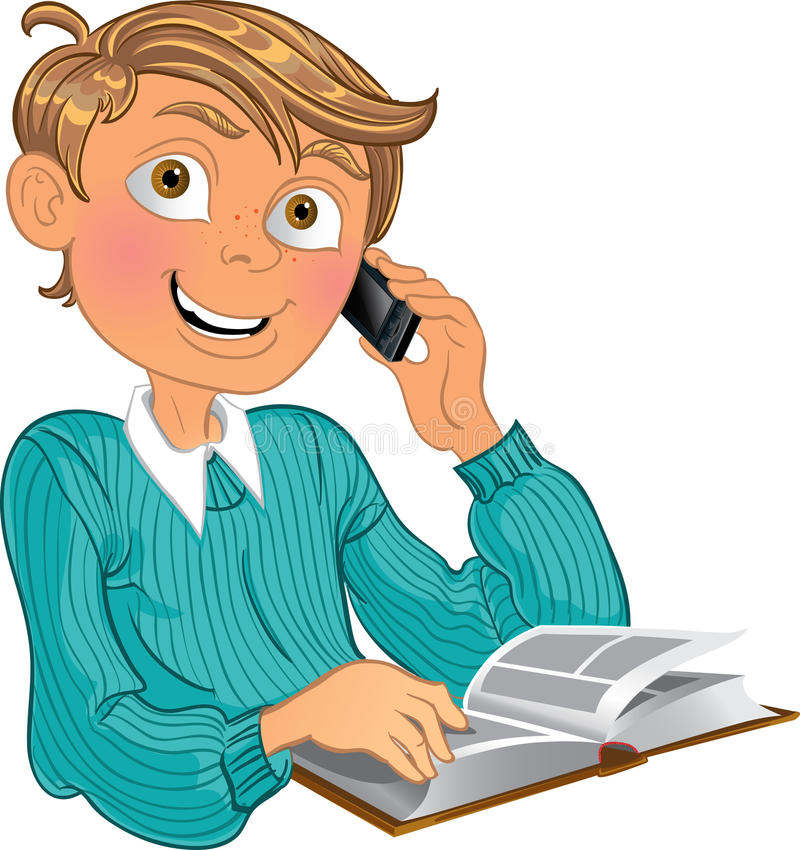 Boy and phone and book stock photos