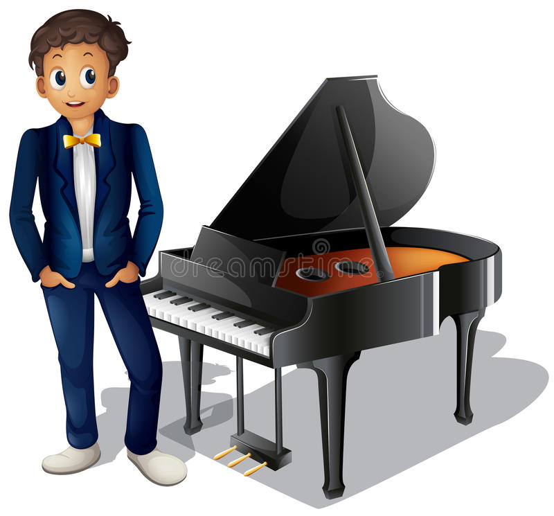 A boy beside the piano royalty free illustration