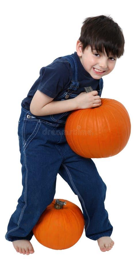 Download Boy Picking Pumpkins stock image. Image of joyful, barefoot - 11764397