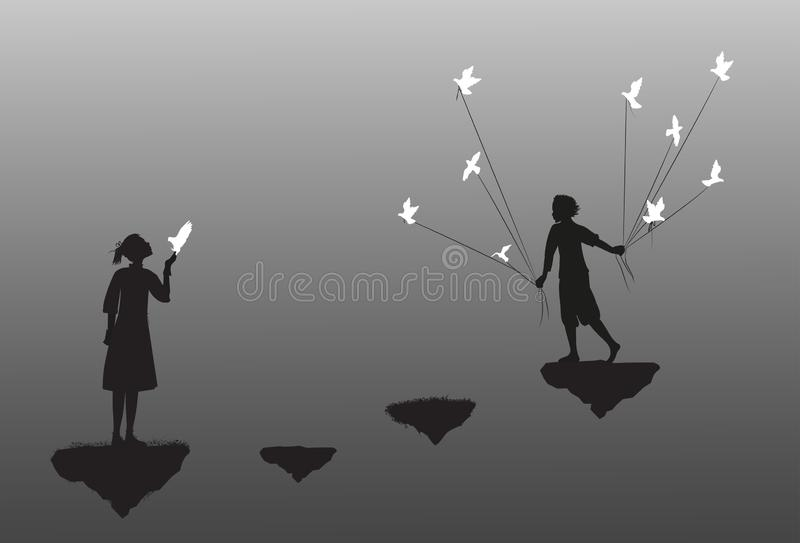Boy with pigeons come to the girl standing on flying rock, black and white, date in dreamland, vector illustration