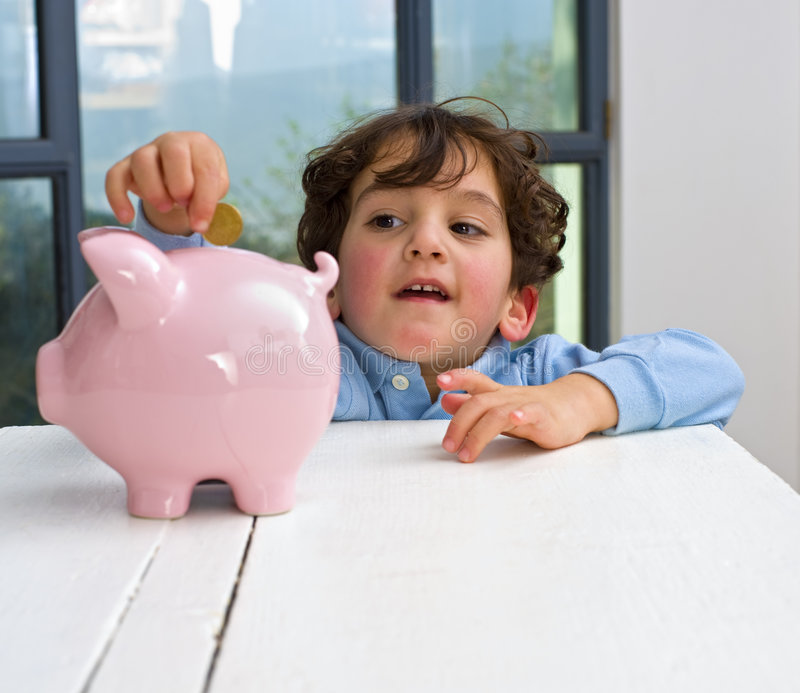 Download Boy piggy bank stock photo. Image of pink, children, innocent - 8213950