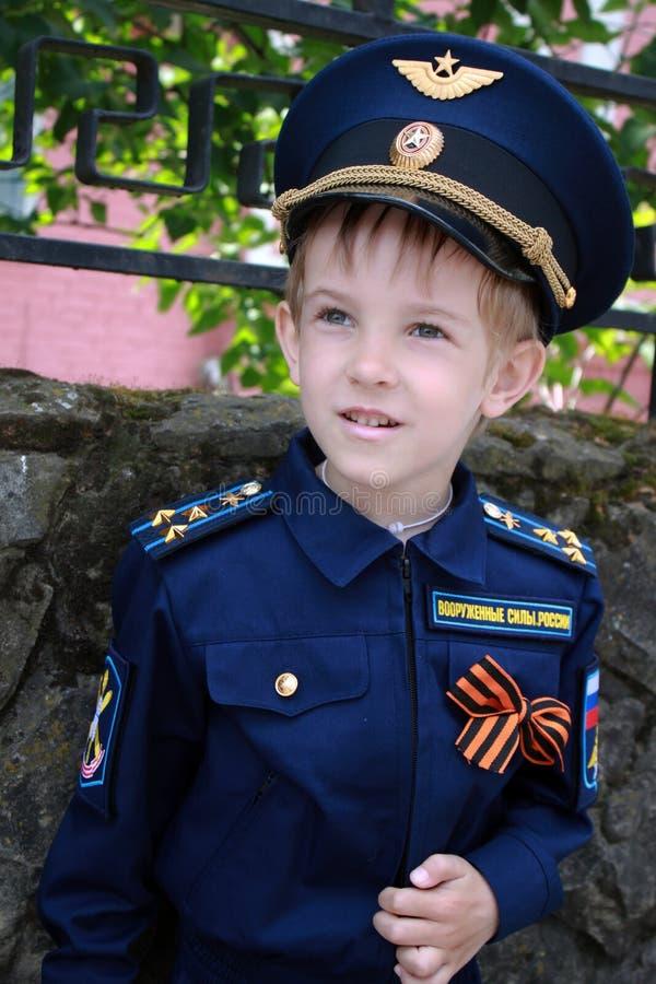 Boy pilot stock photo