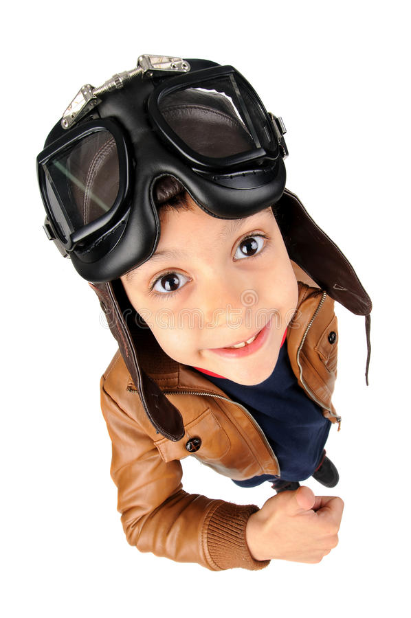 Boy pilot. Young boy pilot isolated in white stock image