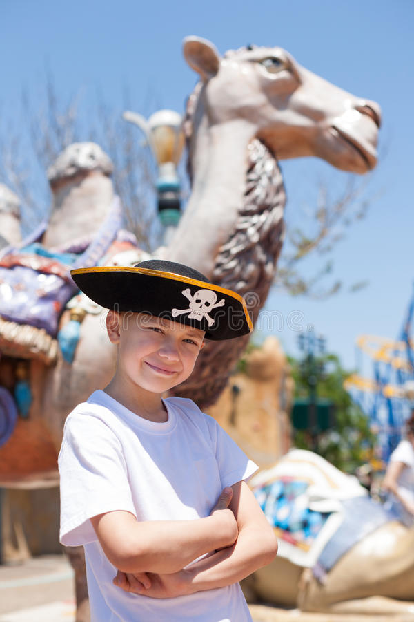 Download Boy in a pirate hat stock image. Image of fairground - 39510955