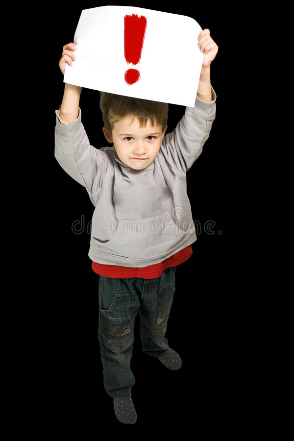 Boy with placard stock image