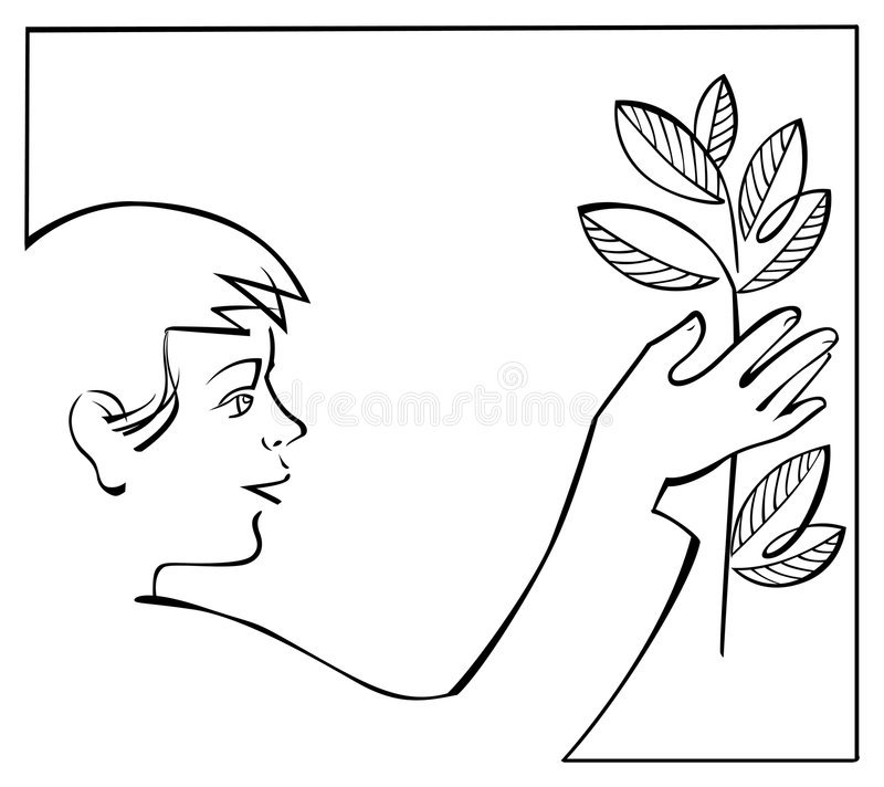 Boy with plant stock illustration