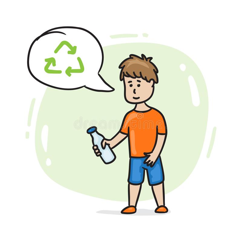 Boy with plastic bottle and recycle sign speech bubble stock illustration