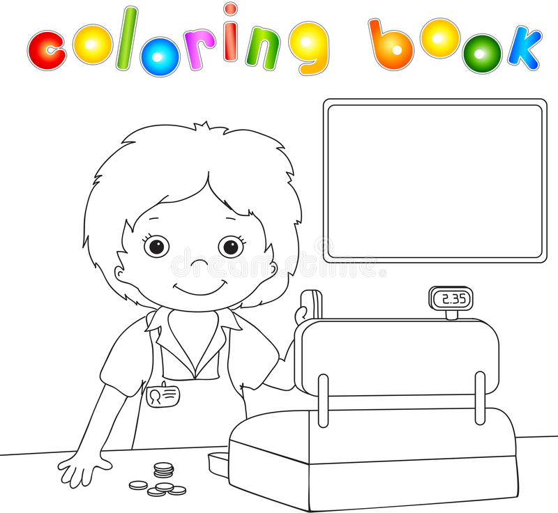 Boy with a plastic card at the checkout. Coloring book for children stock illustration