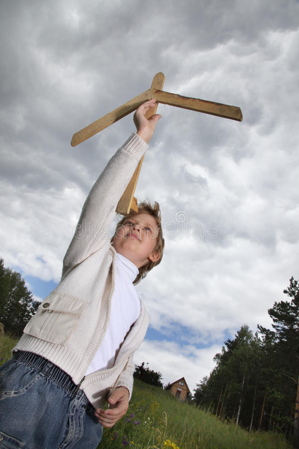 Download Boy Play With Airplane Stock Photo - Image: 23371840