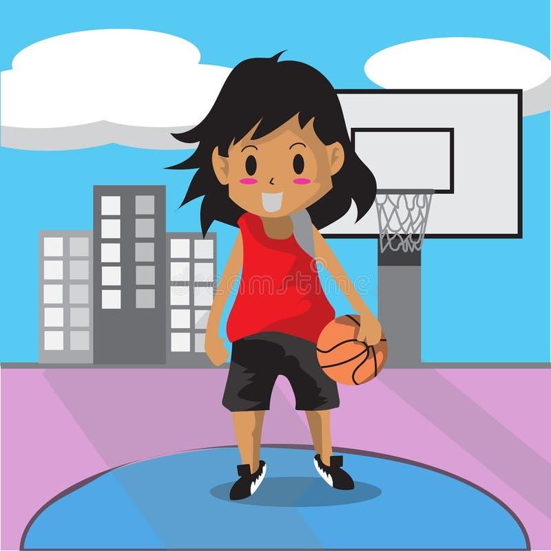 Boy Play Basketball character design cartoon art and royalty free stock image