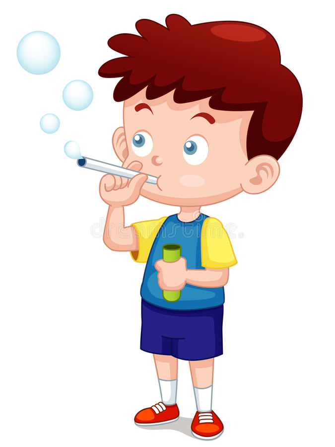 Boy play bubbles pipe vector illustration