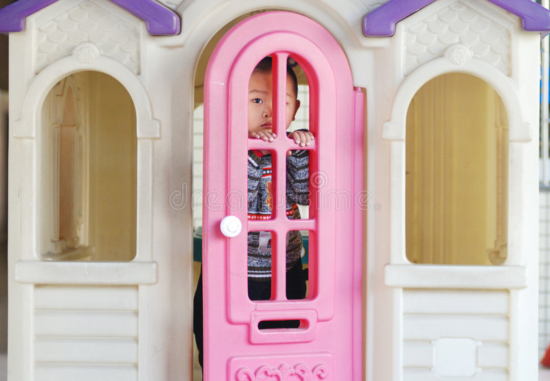 Download A boy play in a doll house stock photo. Image of kindergarten - 4581108