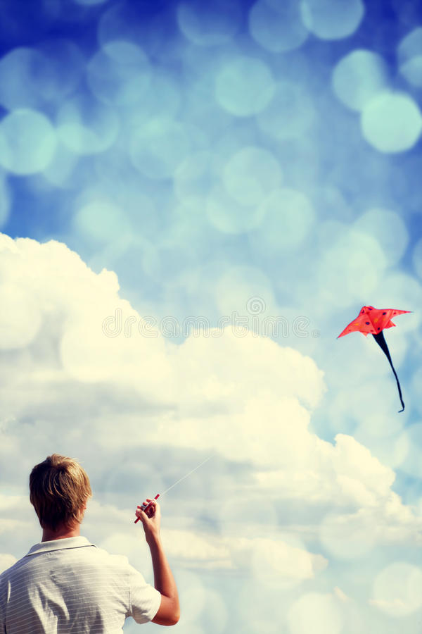 Download Boy play with fly kite. stock image. Image of play, free - 28759253