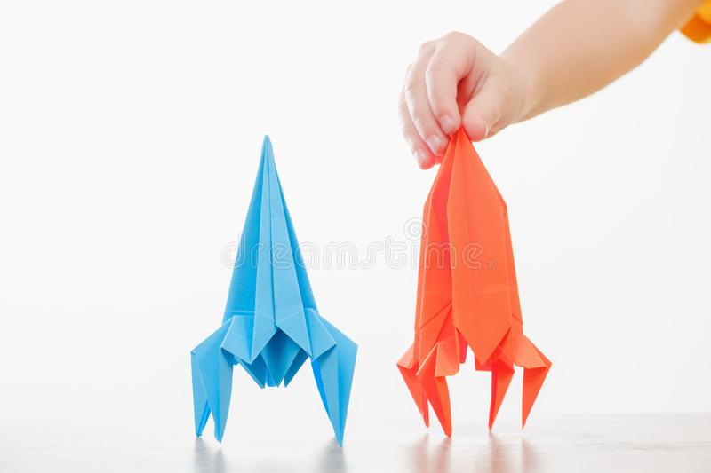 Boy play with rocket child toy dream,  adventure. Boy play with rocket child toy dream science,  adventure stock images