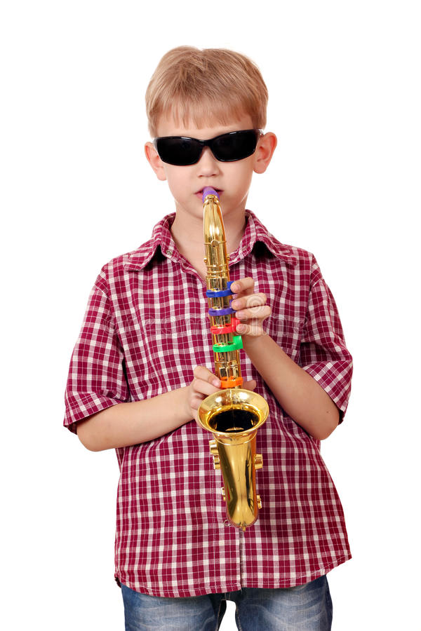 Download Boy play saxophone stock photo. Image of instrument, expression - 28914340