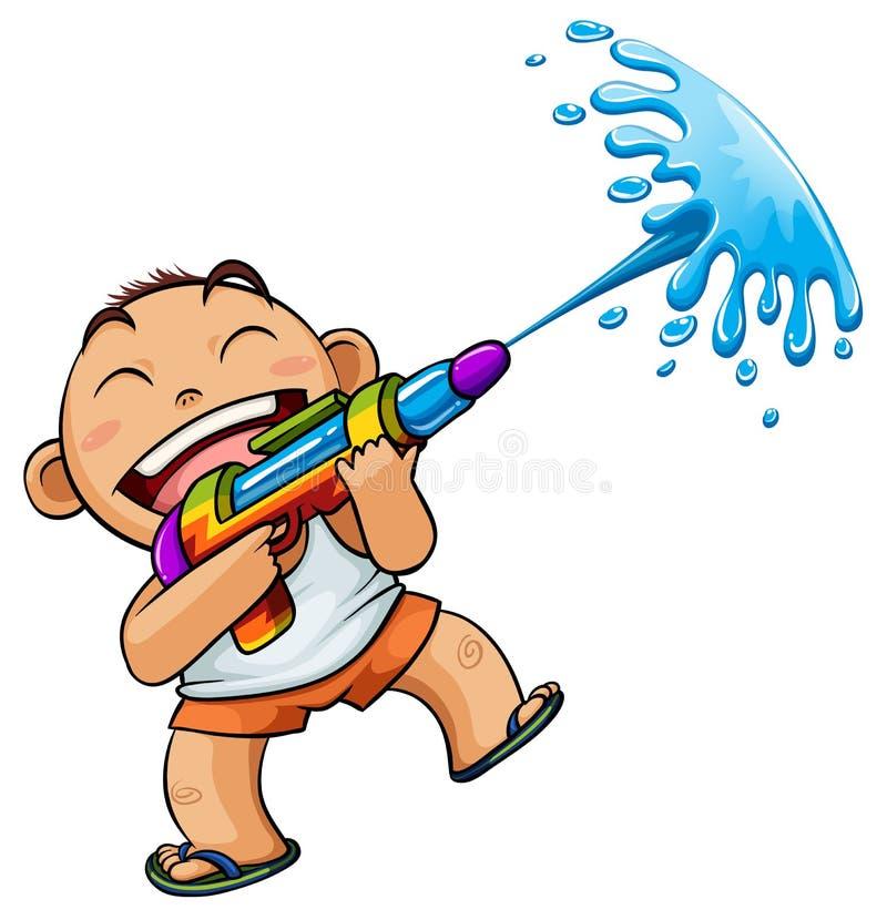 Boy play water gun royalty free illustration