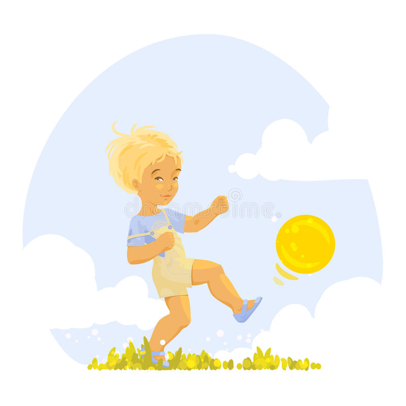 Boy playing with a ball royalty free illustration