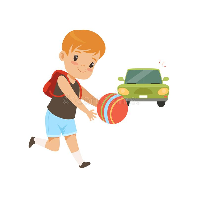 Boy playing ball in front of moving car, kid in dangerous situation vector Illustration on a white background. Boy playing ball in front of moving car, kid in vector illustration