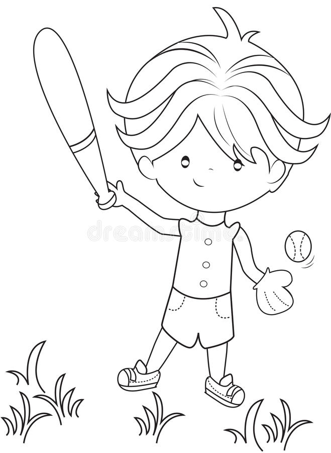 Download Boy Playing Baseball Coloring Page Stock Illustration