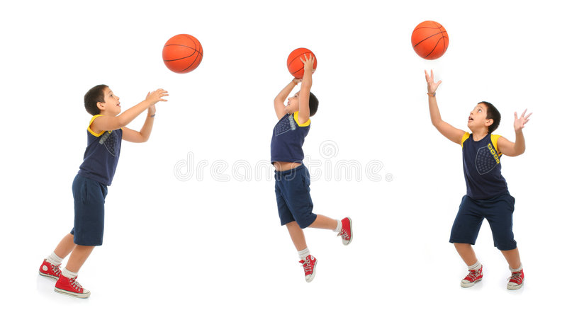 Boy playing basketball isolated. Different positions. From my sport series royalty free stock images