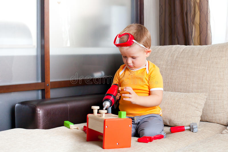 Download Boy Playing With Building Toys At Home Stock Image - Image: 24531217