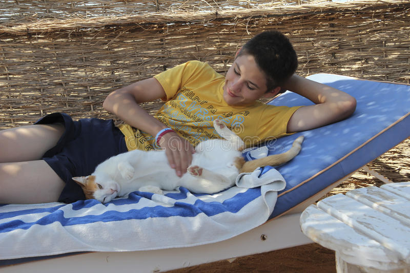 Boy playing with a cat on a sun lounger royalty free stock images