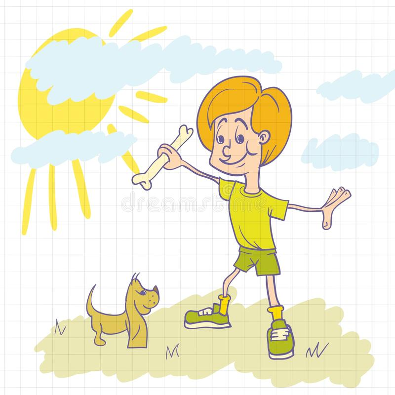 Boy playing with dog royalty free illustration