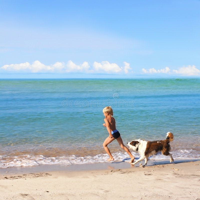 Boy playing dog on a sea coast royalty free stock photography