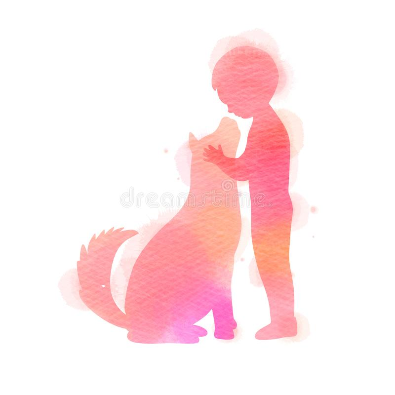 Boy playing with dog  silhouette on watercolor background. The concept of trust, friendship and pet care. Digital art painting. Vector illustration stock illustration