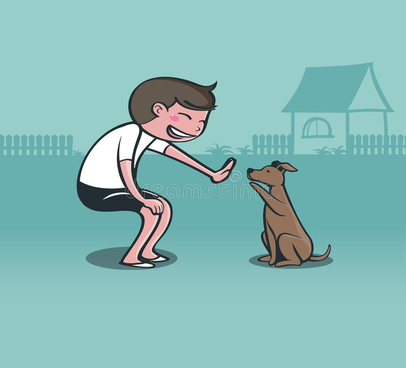 Boy playing with dog royalty free stock photo
