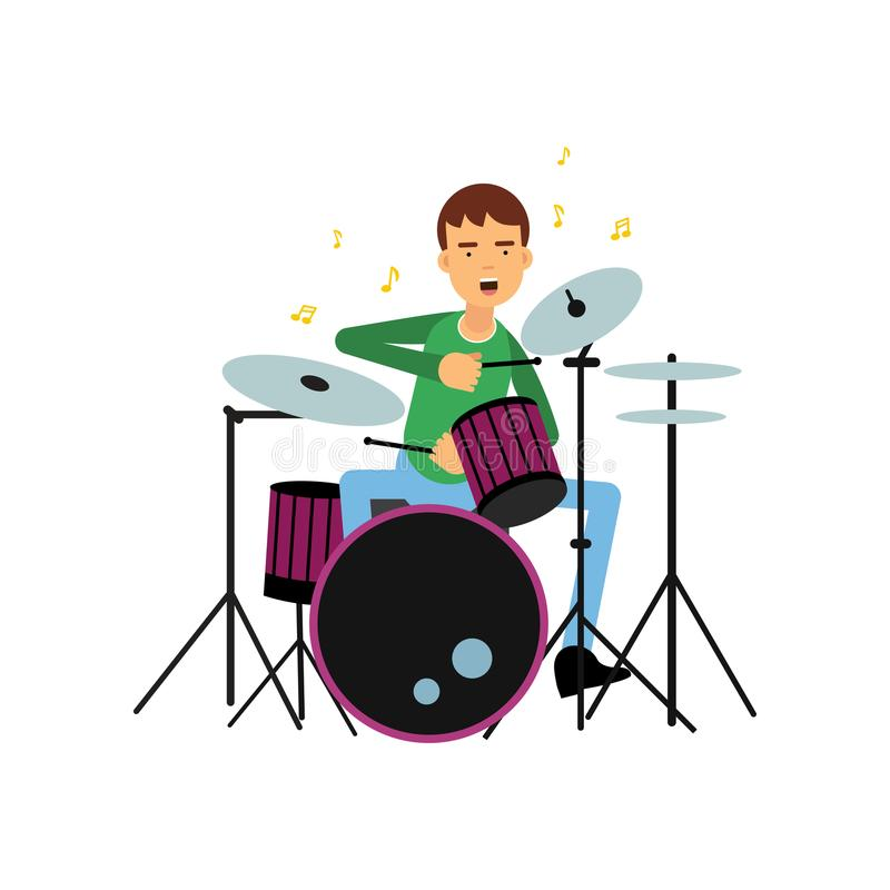 Boy playing drums. Creative hobby or profession concept. Artist young man musician. Flat vector illustration vector illustration