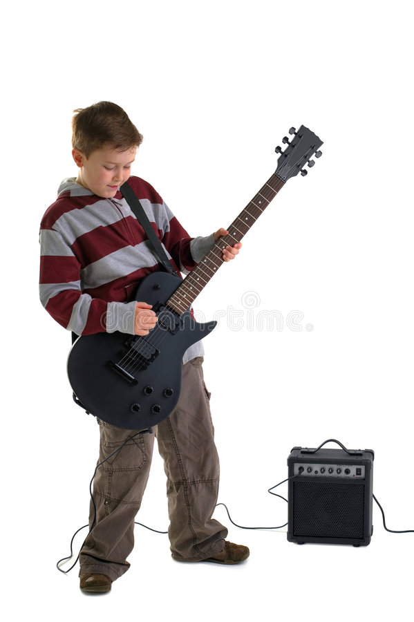 Download Boy Playing An Electric Guitar Isolated Stock Image - Image of length, child: 7542981