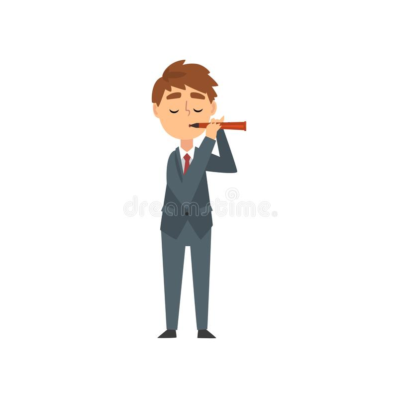 Boy Playing Flute, Talented Young Flutist Character Playing Brass Musical Instrument Vector Illustration. On White Background stock illustration