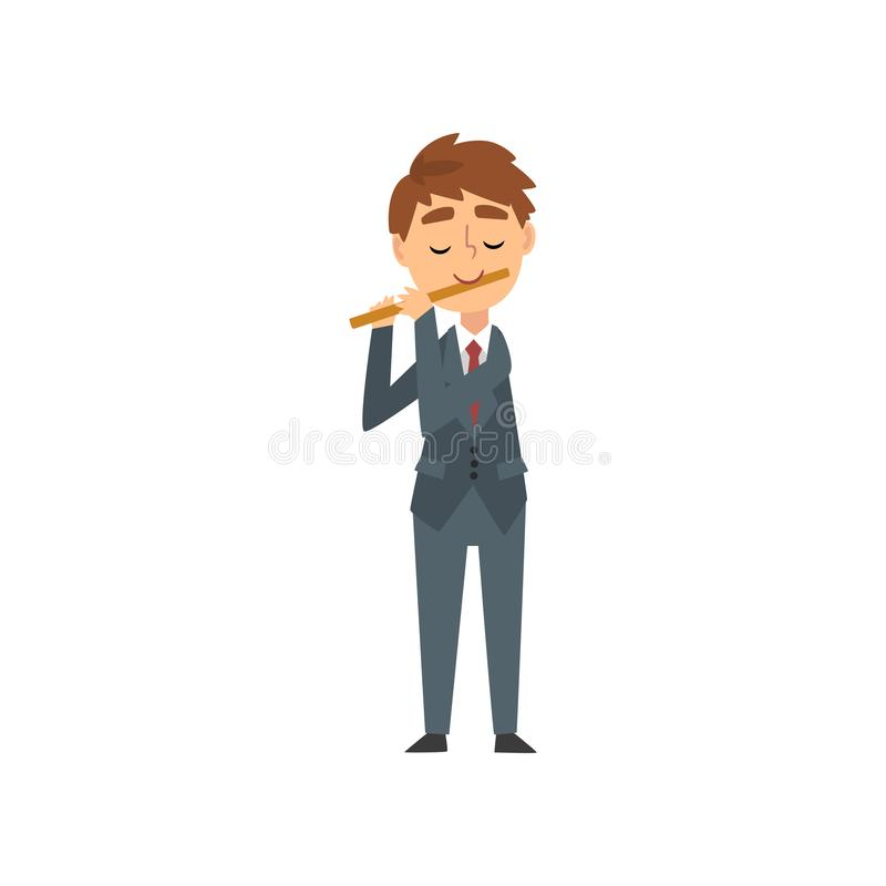 Boy Playing Flute, Talented Young Flutist Character Playing Musical Instrument at Concert of Classical Music Vector. Illustration on White Background vector illustration