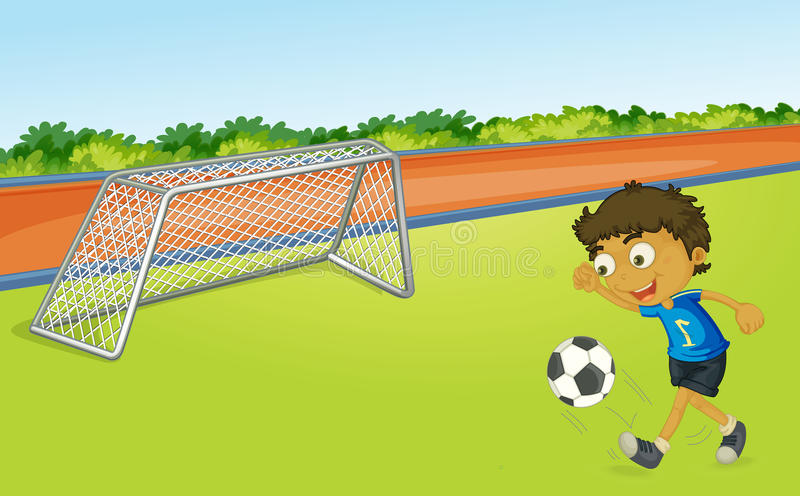 Boy playing football stock illustration