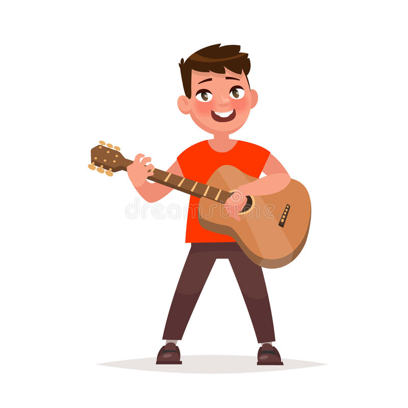 Boy is playing the guitar. Musical performance. Vector illustration in cartoon style vector illustration