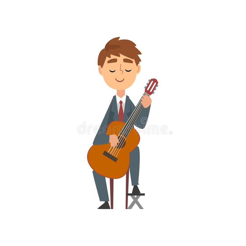 Boy Playing Guitar, Talented Young Guitarist Character Playing Acoustic Musical Instrument, Concert of Classical Music royalty free illustration