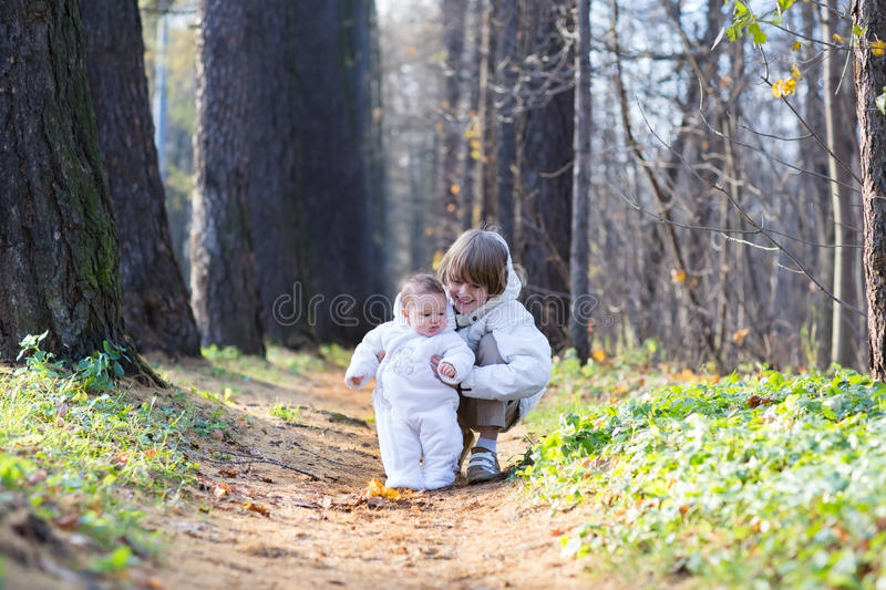 Boy playing with his baby sister in the park stock photo
