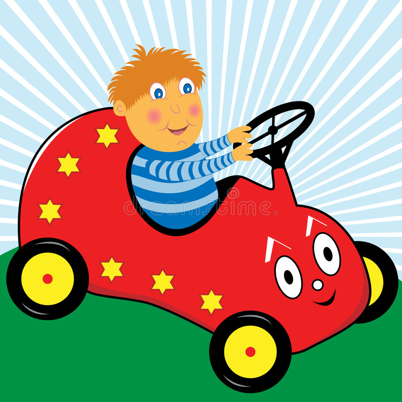 Download Boy Playing In His Cartoon Car Royalty Free Stock Image - Image: 9013346