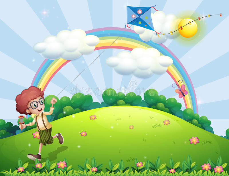 A boy playing with his kite at the hilltop with a rainbow vector illustration