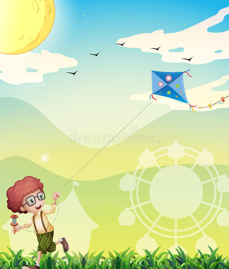 A boy playing with his kite stock illustration