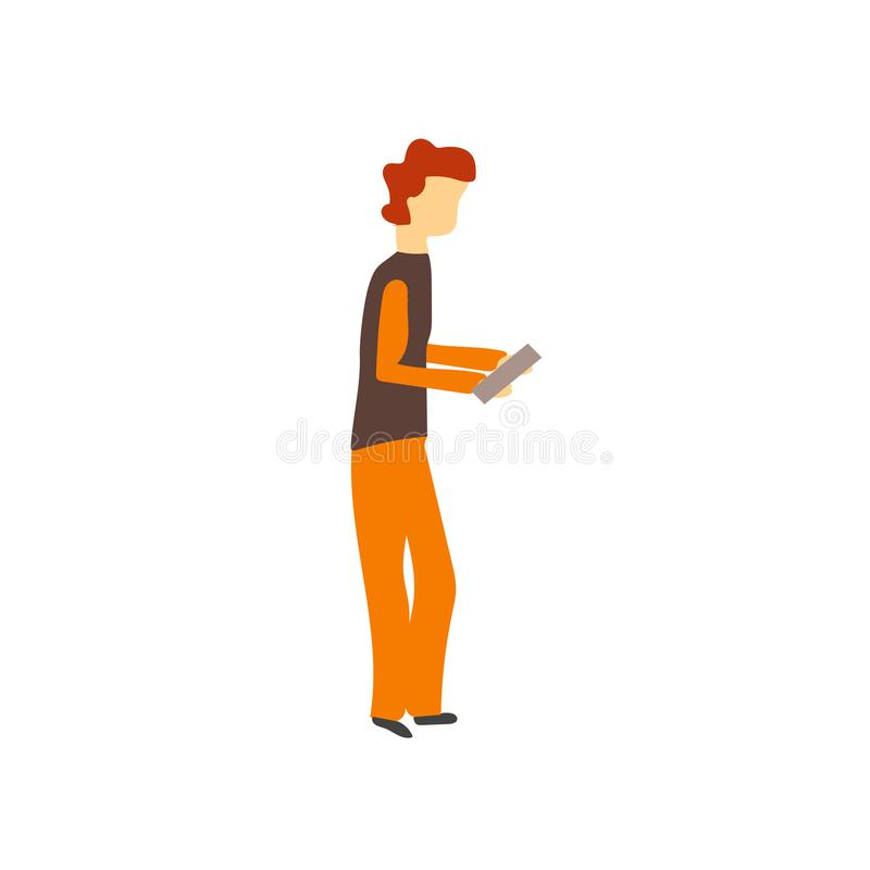 Boy playing with phone vector vector sign and symbol isolated on white background, Boy playing with phone vector logo concept vector illustration