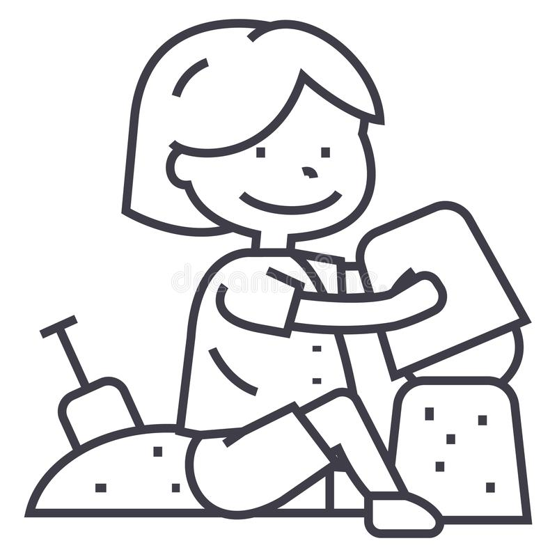 Boy playing with sand on beach or sandbox,scapula and bucket vector line icon, sign, illustration on background royalty free illustration