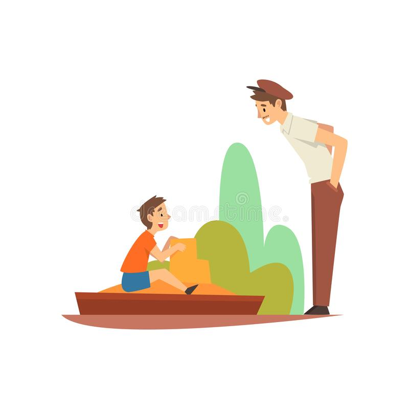 Boy Playing in Sandpit in Park or on Playground, Smiling Man in Cap Talk with Him Vector Illustration. On White Background royalty free illustration