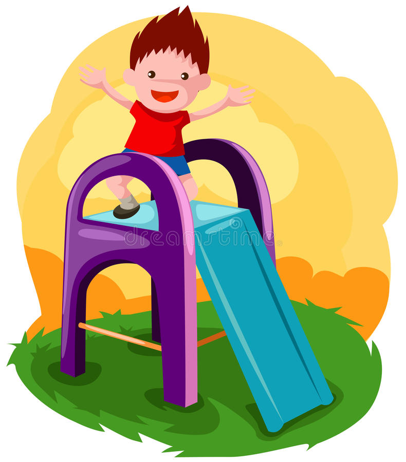 Boy playing on the slide stock illustration
