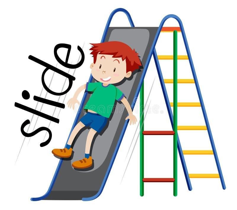 Boy playing on slide. Illustration royalty free illustration