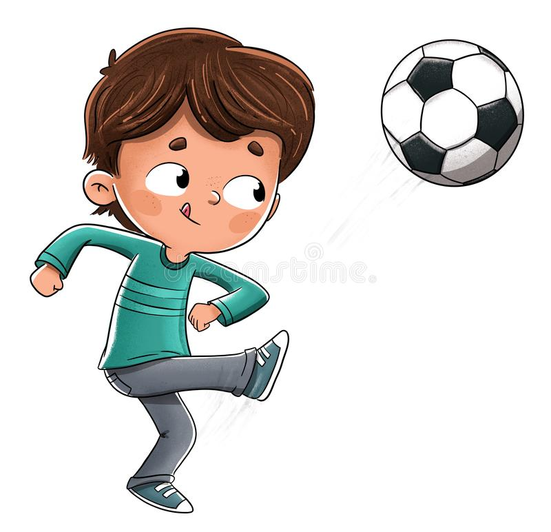 Boy playing soccer throwing the ball vector illustration